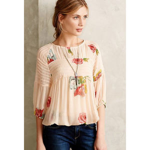 Anthropologie One Fine Day Tea Rose Floral Top